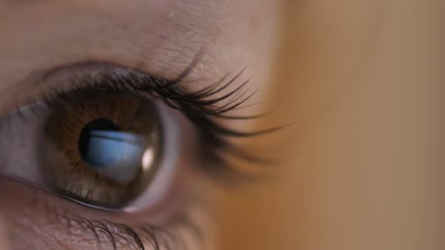 vidéos et rushes de reflet d'un ordinateur portatif dans l'oeil d'une femme, femme travaillant sur un ordinateur portatif, projectile de macro - innocence