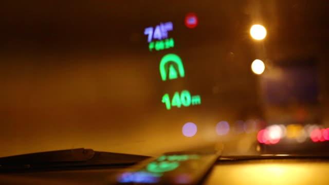 Reflection of Navigation system on car windshield video