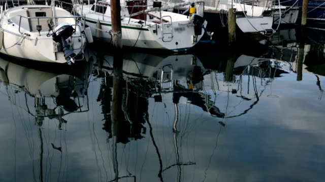HD STOCK: Reflection of sailboats in harbor on cloudy day video