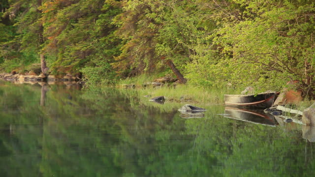 Reflections of forest and Canoes in Lake video