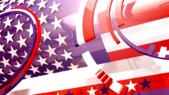 vídeos y material grabado en eventos de stock de típicos spinning brillante american colores y las formas de los dibujos (4 versiones) - election