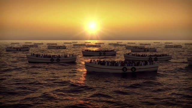 flüchtlinge auf booten auf den sonnenuntergang schwimmen - fülle stock-videos und b-roll-filmmaterial
