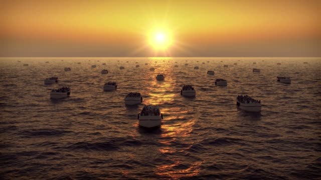 Refugees on boats floating on the sunset