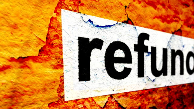 refund text on grunge background - reso video stock e b–roll