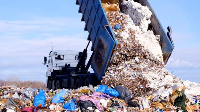vídeos y material grabado en eventos de stock de niegan que recoge camión descargando basura. de la descarga. 4k. - colección
