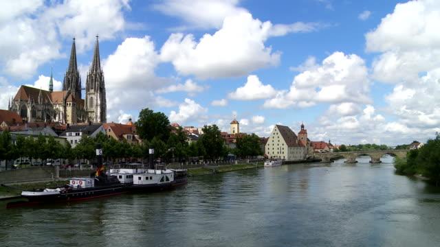 Regensburg And The Old Stone Bridge Over The Danube River video