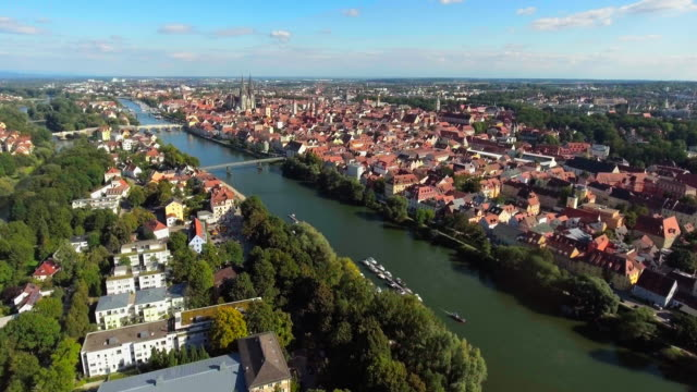 Regensburg Old Town And Danube Island From The West video
