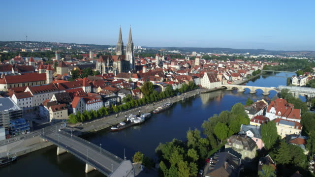 Regensburg Old Town and Danube River from the Northeast video