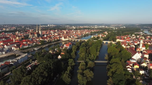 Regensburg Old Town And Stadtamhof Districts From The East video