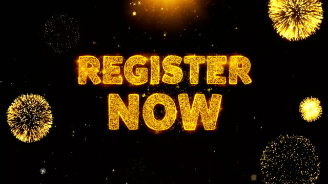 Register Now Text on Firework Display Explosion Particles.
