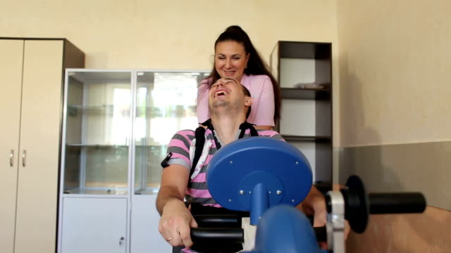 Rehabilitation the back on motor-driven simulator. video