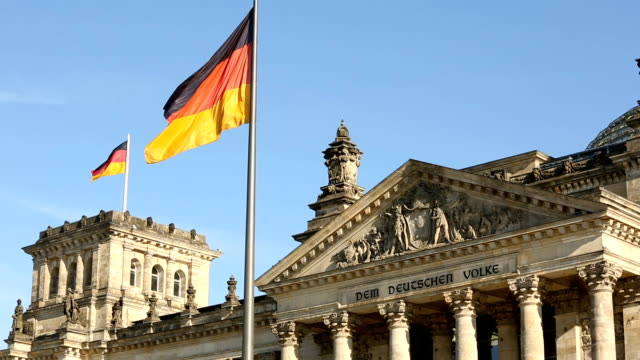 Reichstag in Berlin with german flag video