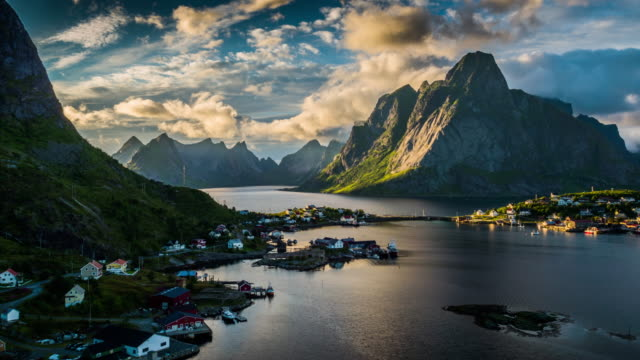 AERIAL: Reine Village and mountains of Moskenesoya, Lofoten Islands in Norway video