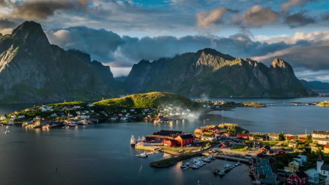 aerial reine village, lofoten islands, norway - fiordi video stock e b–roll