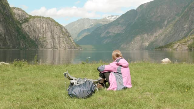 Relaxation on the fjord coastline. Norway video