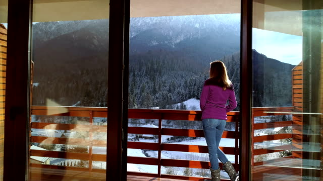 Relaxing in a Mountain Chalet Young woman relaxing in a mountain chalet in winter time chalet stock videos & royalty-free footage