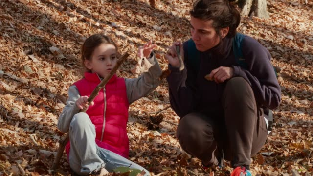 Relaxing in Nature. Mother and Daughter Hiking. Traveler in Serbia. video