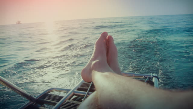 Relaxing POV: yacht sailing boat during cruise video