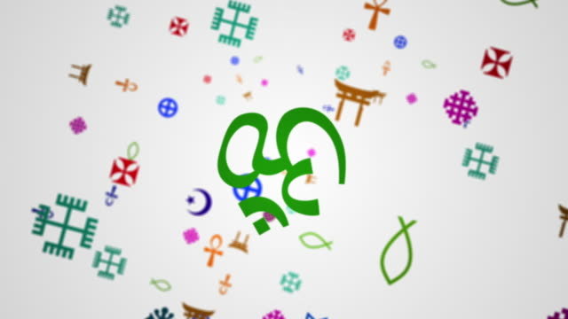 Religions symbols composite video