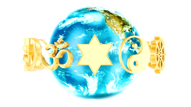 Religions symbols with rotating Earth Globe, 3D rendering isolated on white background video