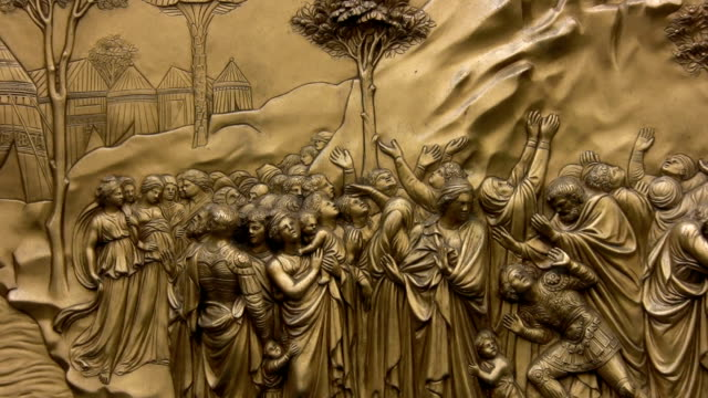 "Religious bronze mural on Baptistery door, Florence Religious bronze mural on door of the Baptistery, Florence Cathedral. One of the ten panels known as Ghiberti's 'Paradise"",depicting stories from the Old Testament. old testament stock videos & royalty-free footage"