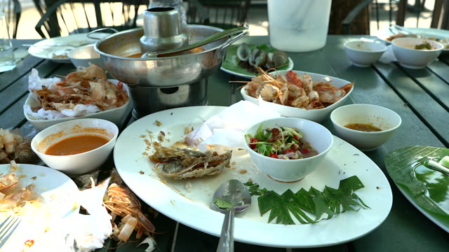 vídeos de stock, filmes e b-roll de restos de comido com sujos bagunçados pratos usados em uma configuração de restaurante. - sujo