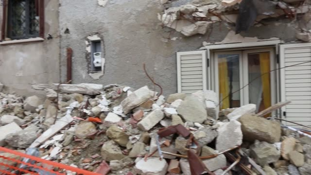Remains of the strong quake of the earthquake. Campotosto, Province of L'Aquila, Abruzzo Campotosto, Province of L'Aquila, Abruzzo. January 31, 2018. Remains of the strong quake of the earthquake. Campotosto, Province of L'Aquila, Abruzzo. January 31, 2018 earthquake stock videos & royalty-free footage