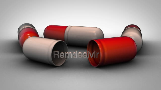 Remdesivir pills - zoom out 3D graphic animation on a white background remdesivir stock videos & royalty-free footage