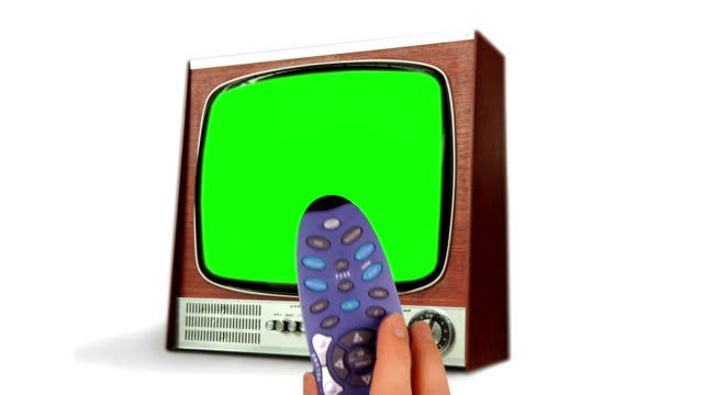 Remote Control Changing TV Channels with Green Screen. HD video