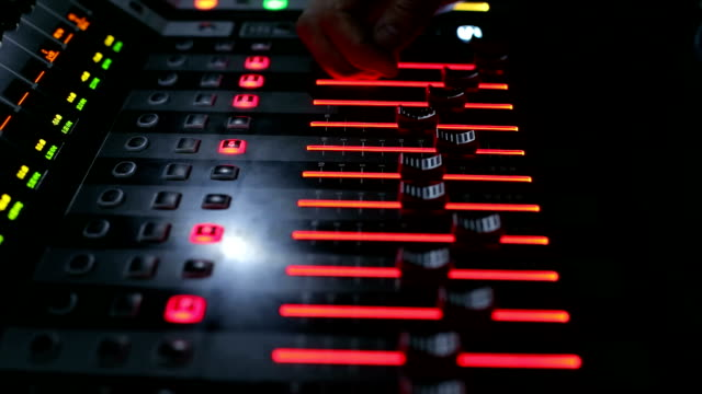 Remote control concert equipment on stage,close-up video