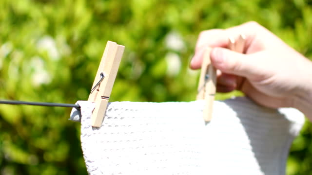 Removing dry white material from washing line video