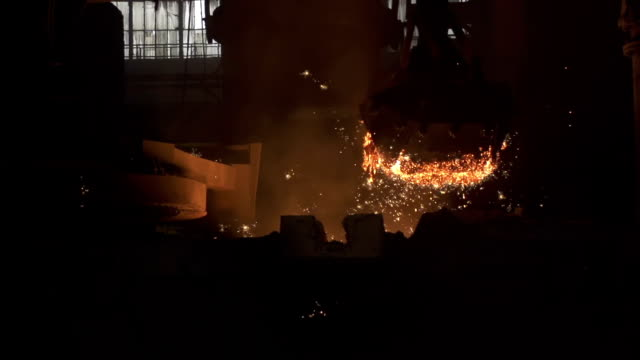 Removing slag Removing slag from melted metal. Full HD 1080p slow motion shot at 200 fps. steel mill stock videos & royalty-free footage