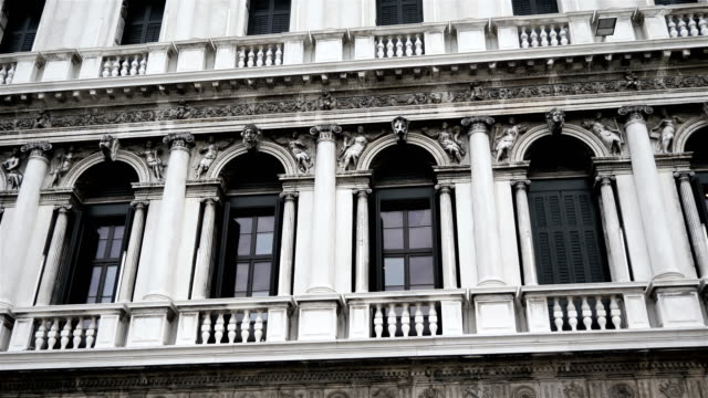 Renaissance architecture closeup panoramic view, Italy, Venice VENICE, ITALY, Nov 1st 2018: Renaissance architecture closeup panoramic view on San Marco square or piazza. Camera moves from left to right. Nobody renaissance architecture stock videos & royalty-free footage