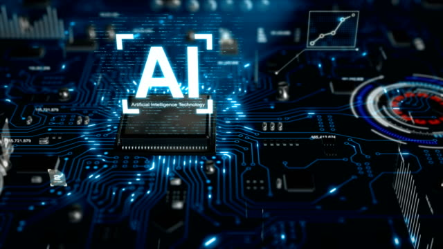 3d render ai artificial intelligence technology cpu central processor unit chipset on the printed circuit board for electronic and technology concept select focus shallow depth of field with dark and grain processed - automatico video stock e b–roll