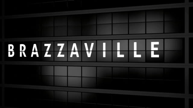 3D rendered animation. Analog flight information display board with the arrival city of Brazzaville, Congo video