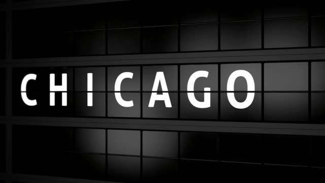 3d-рендери анимация. аналоговая доска отображения полетной информации с прибытием города чикаго, америка - табло вылетов и прилётов стоковые видео и кадры b-roll