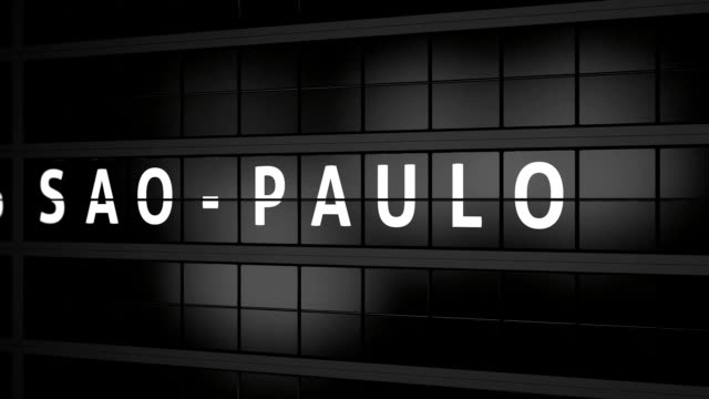 3d rendered animation. analog flight information display board with the arrival city of copenhagen - são paulo video stock e b–roll