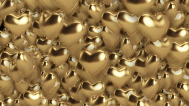 3D Rendered Golden Hearts Animation Backdrop