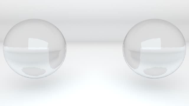 3d rendering abstract background. computer generated two glass metaballs merge into one - sfera lucida video stock e b–roll