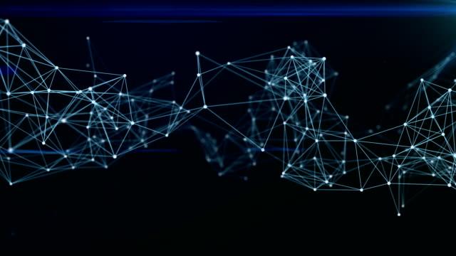 vídeos y material grabado en eventos de stock de 3d representación abstracta puntos sobre fondo oscuro, fondo del concepto de tecnología y las conexiones de la red - plexo