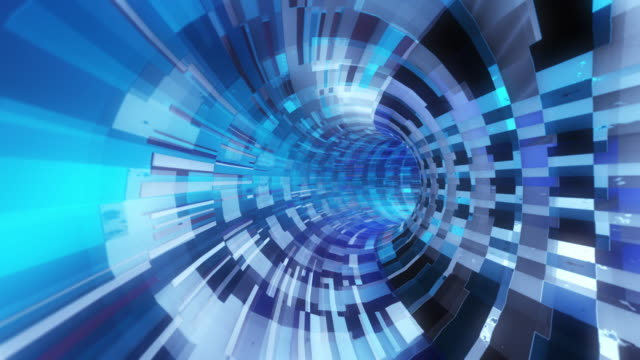 3D rendering. Animation of abstract futuristic glow blue white square tunnel background random motion, Concept of big data technology. 3d Animation. - vídeo