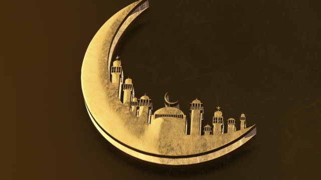 3D rendering,  Animation of Ramadan Kareem with golden moon mosque on light shadow  gold color background. Design for greetings card, poster, banner, invitation. - vídeo