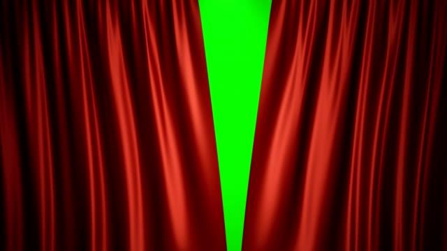 vídeos de stock, filmes e b-roll de animação de renderização 3d abrir e fechar luxure vermelho seda, projeto de decoração da cortina. cortina de palco vermelho para fundo de cena de teatro ou ópera. mock-up para seu projeto de design - arte, cultura e espetáculo