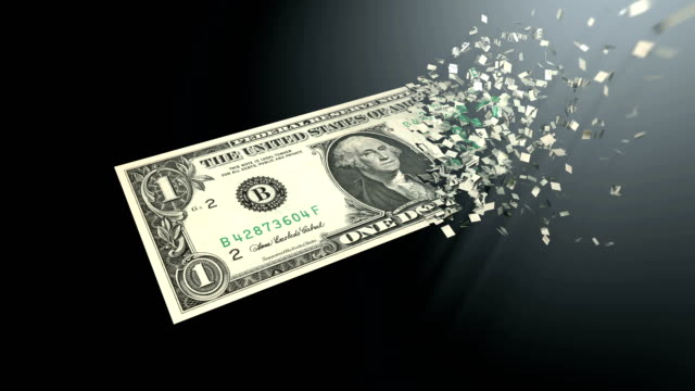 4K 3D rendering animation. The dematerialization of money, dollars are dematerialized on a black background.