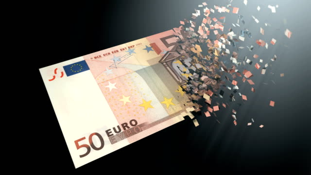 4K 3D rendering animation. The dematerialization of money, Euros are dematerialized on a black background.