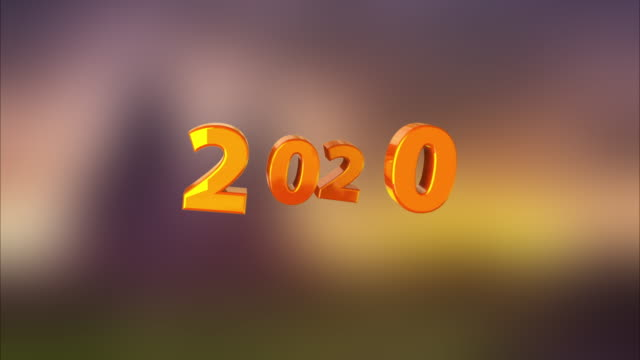 3D rendering background with colored number 2020 turns into black and white. Computer generated animation of the concept of the happy new year 2020