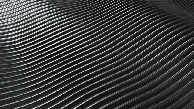 3D rendering closeup abstract black silver and white stripe slicing wavy background. Minimalism illustration concept. 4K motion graphic design footage video