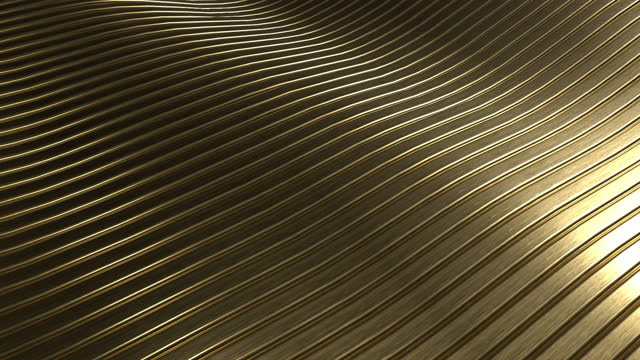 3D rendering closeup abstract gold slicing wavy background. Minimalism illustration concept. 4K motion graphic design footage video