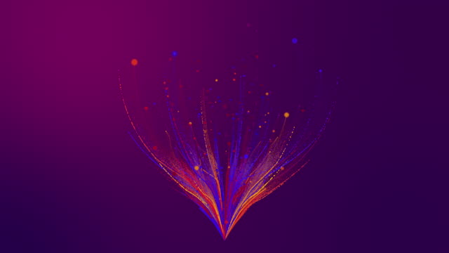 3D rendering colorful pink purple blue particle line like a flower grow bloom. Glowing lines and light particles on dark pink purple background.