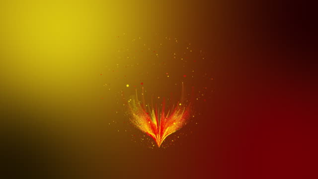 3D rendering colorful red yellow particle line like a flower grow bloom. Glowing lines and light particles on dark yellow red background. - vídeo